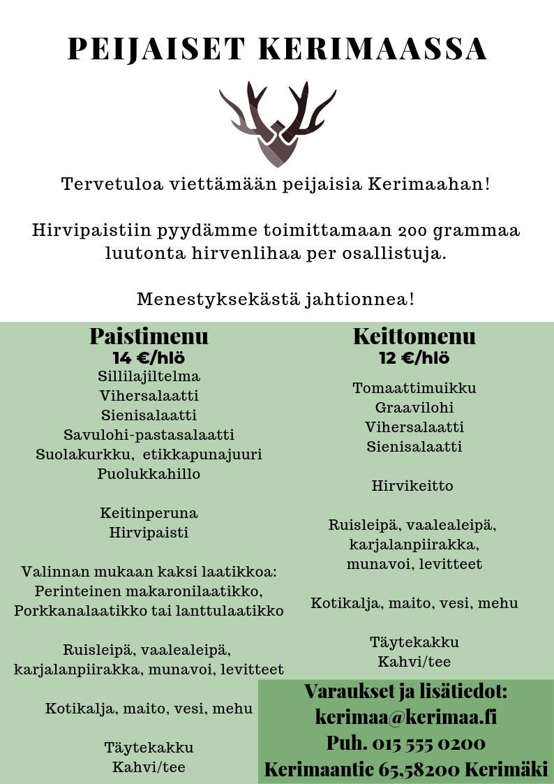Peijaiset Kerimaassa 2019 menu